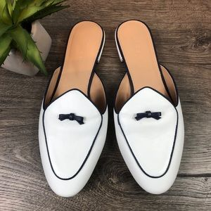 J. Crew White Piped Loafer Mule